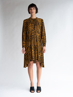 No.6 Luna Dress in Tobacco Zebra Silk