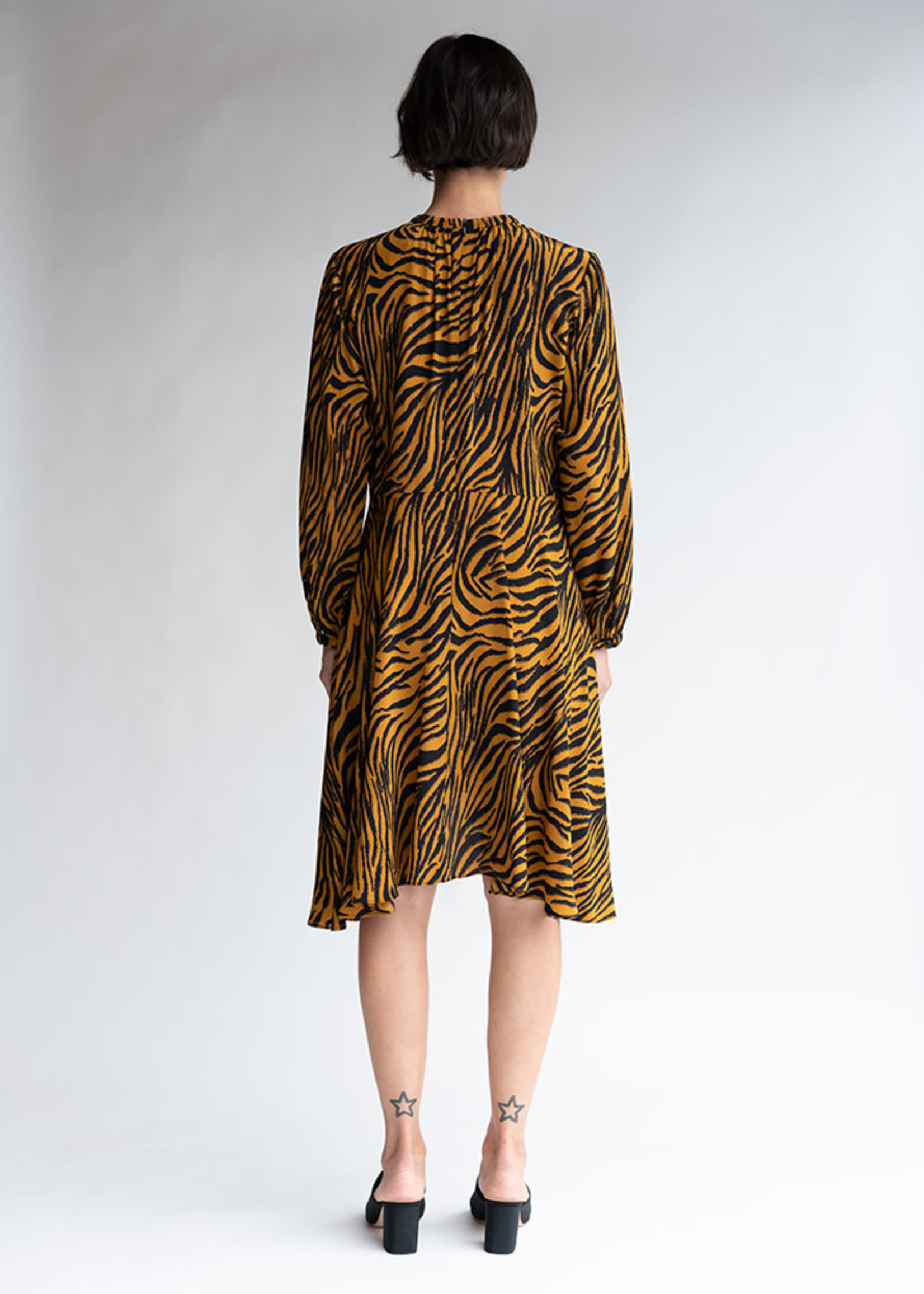 Luna Dress in Tobacco Zebra Silk