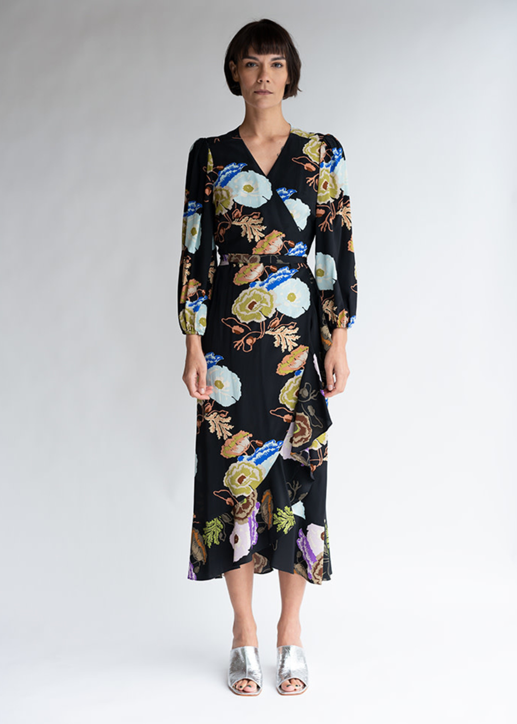 Noma Wrap Dress in Black/Blue/Lilac Hyacinth Silk