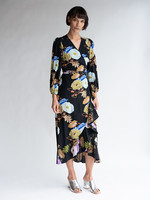 No.6 Noma Wrap Dress in Black/Blue/Lilac Hyacinth Silk