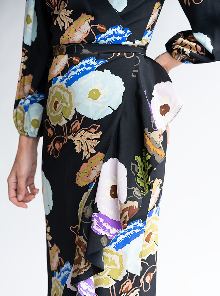 No.6 Noma Wrap Dress in Black/Blue/Lilac Hyacinth Silk