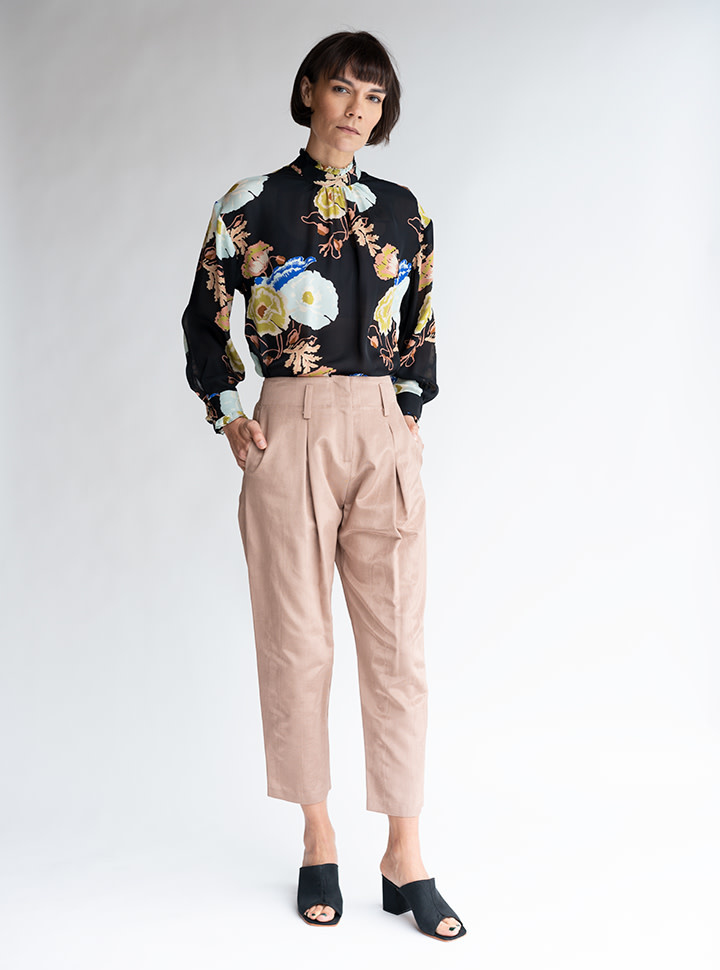No.6 Hollis Cropped Pant in Biscuit Moire