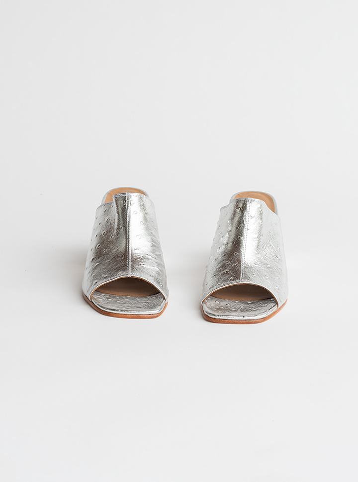 No.6 Dora Mule in Silver Ostrich Embossed Leather