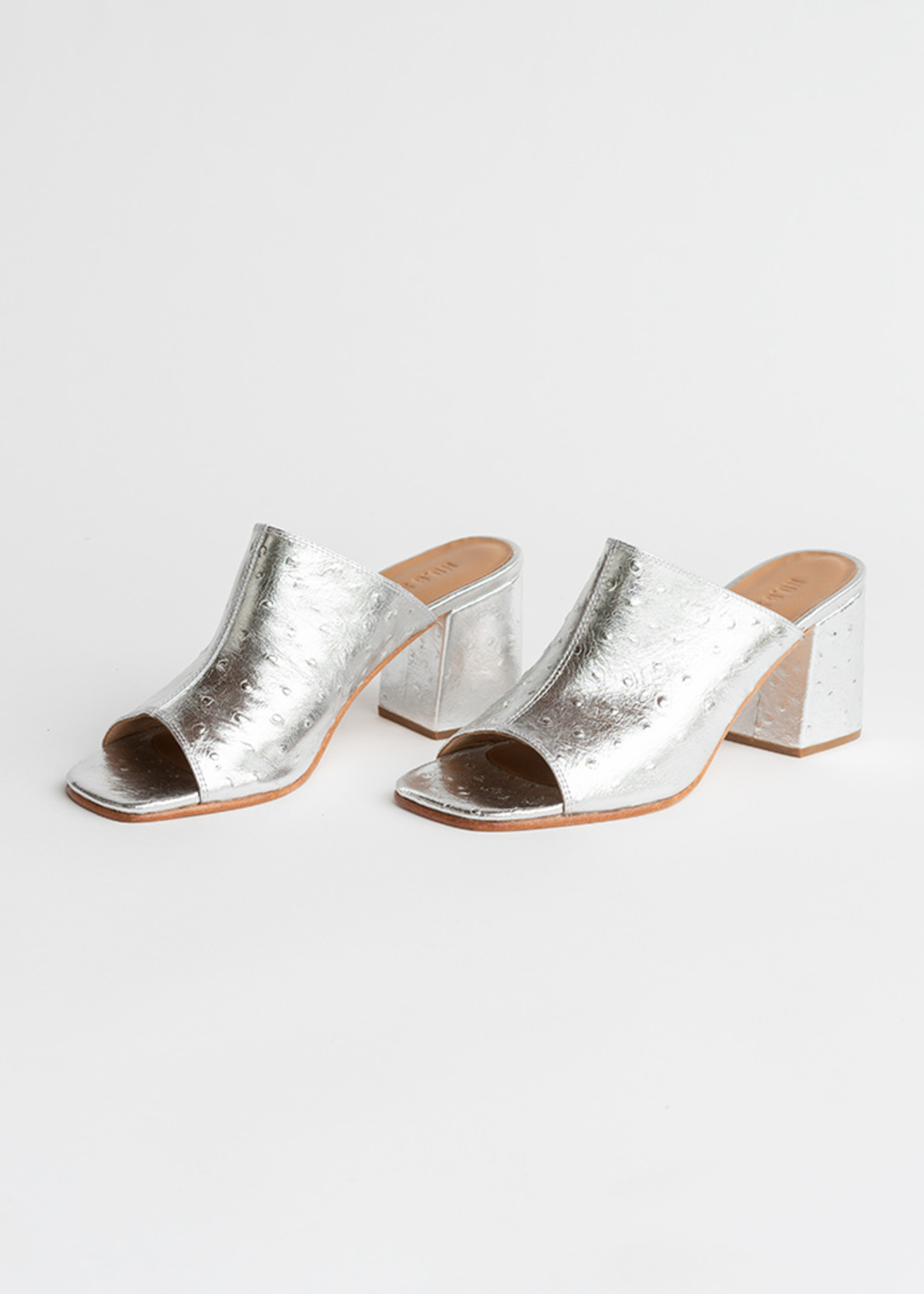 Dora Mule in Silver Ostrich Embossed Leather