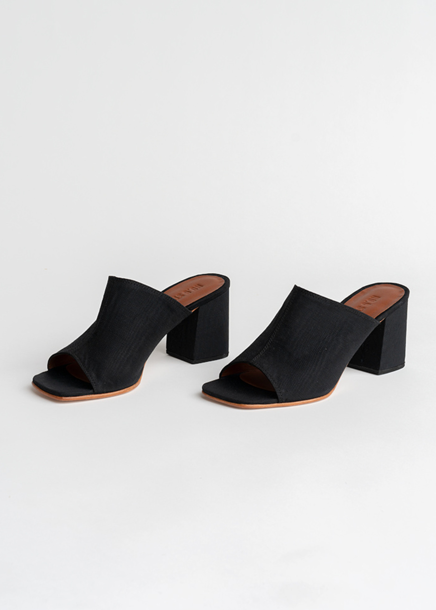 Dora Mule in Black Moire