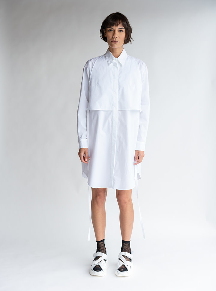MM6 MAISON MARGIELA White Poplin Shirt Dress