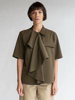 MM6 MAISON MARGIELA MM6 Maison Margeila Multi-Wear Drape Shirt in Military Green