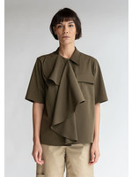 MM6 MAISON MARGIELA MM6 Maison Margeila Multi-Wear Drape Shirt in Military Green