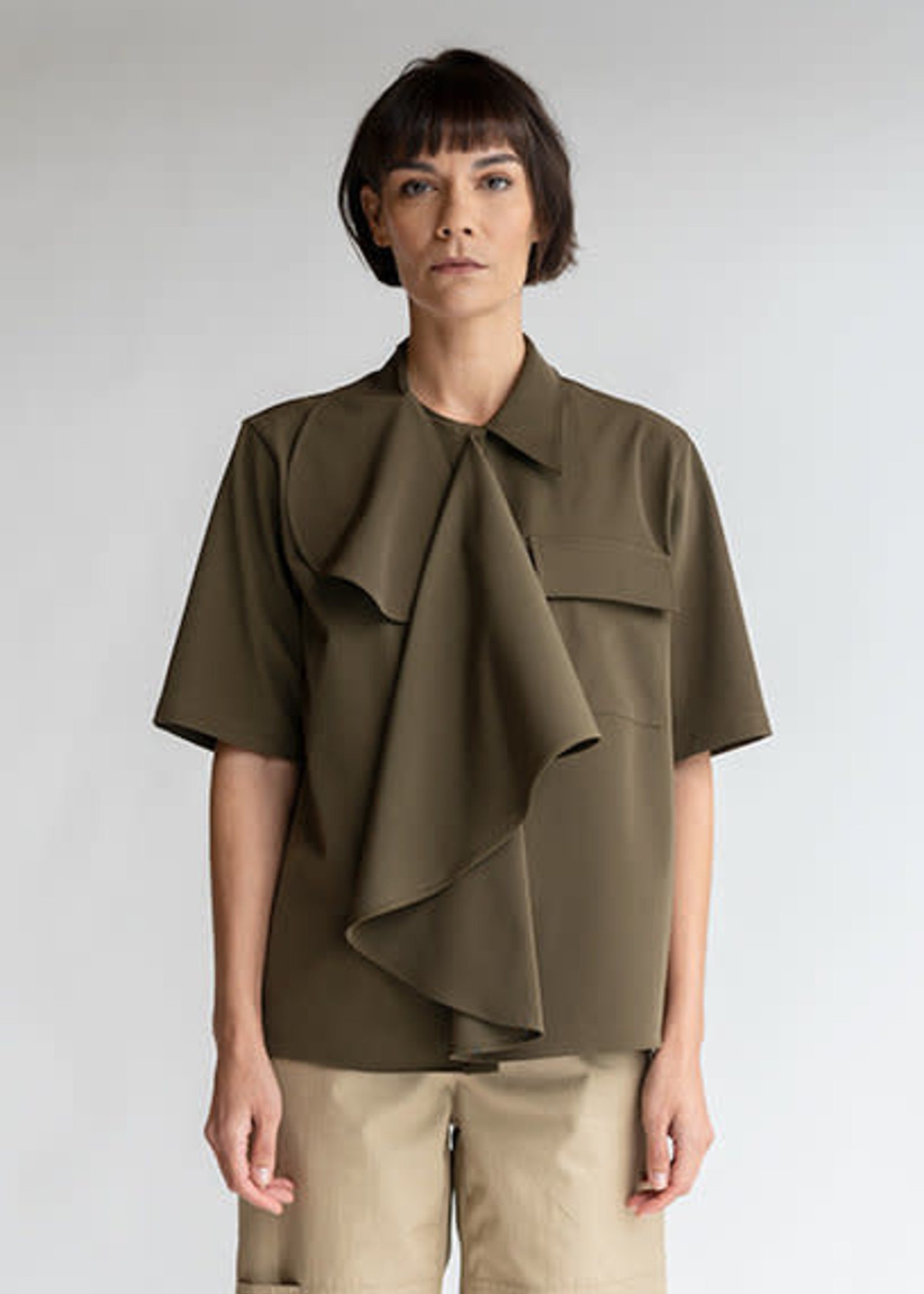 MM6 MAISON MARGIELA Multi-Wear Drape Shirt in Military Green
