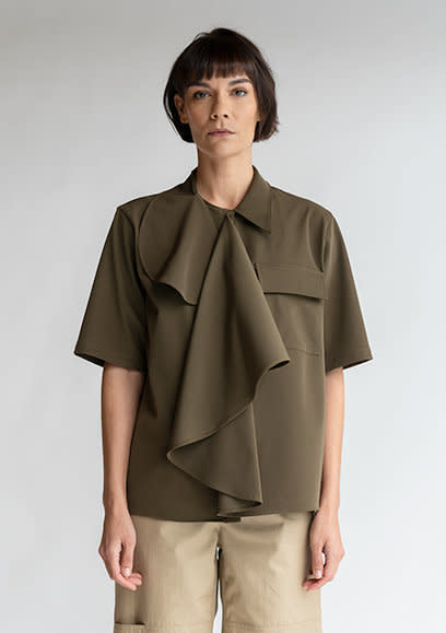 MM6 MAISON MARGIELA Multi-Wear Drape Shirt in Military Green