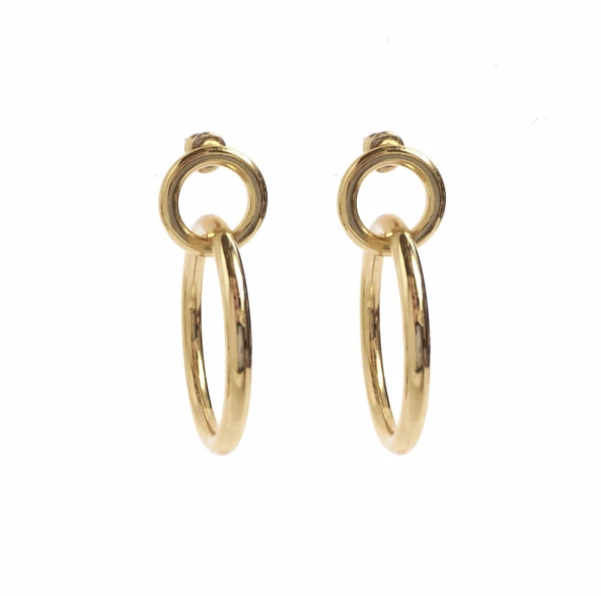 Lady Grey Small Link Hoops in 14K Gold Plated Bronze