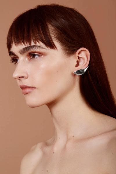 Lady Grey Lobe Ear Cuff in Silver Plated Bronze