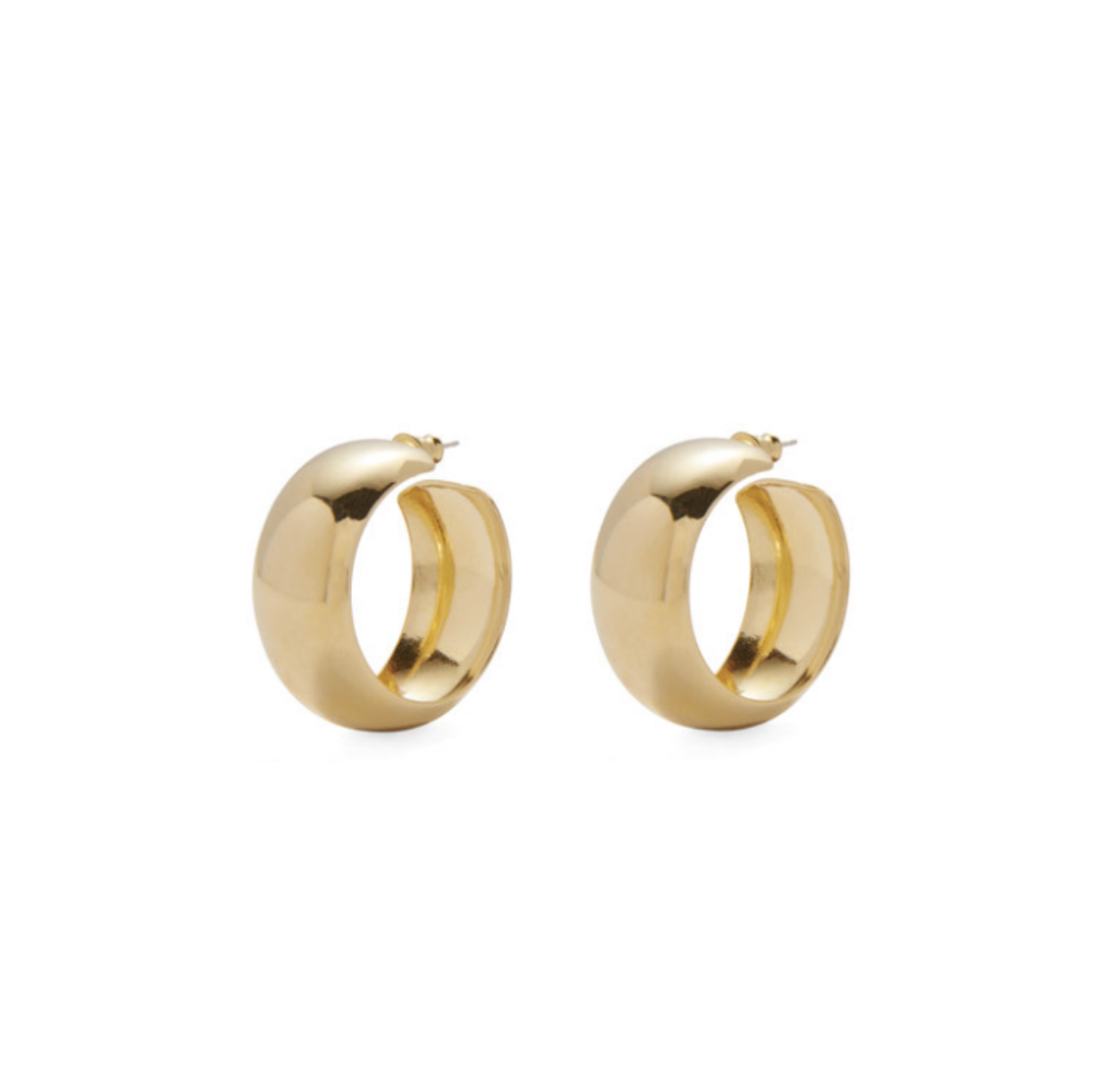 Lady Grey Dome Hoops in 14K Gold Plated Bronze