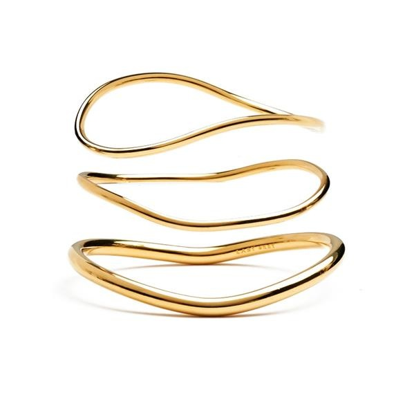 Lady Grey Wave Bangle Set in 14k Gold Plated Bronze