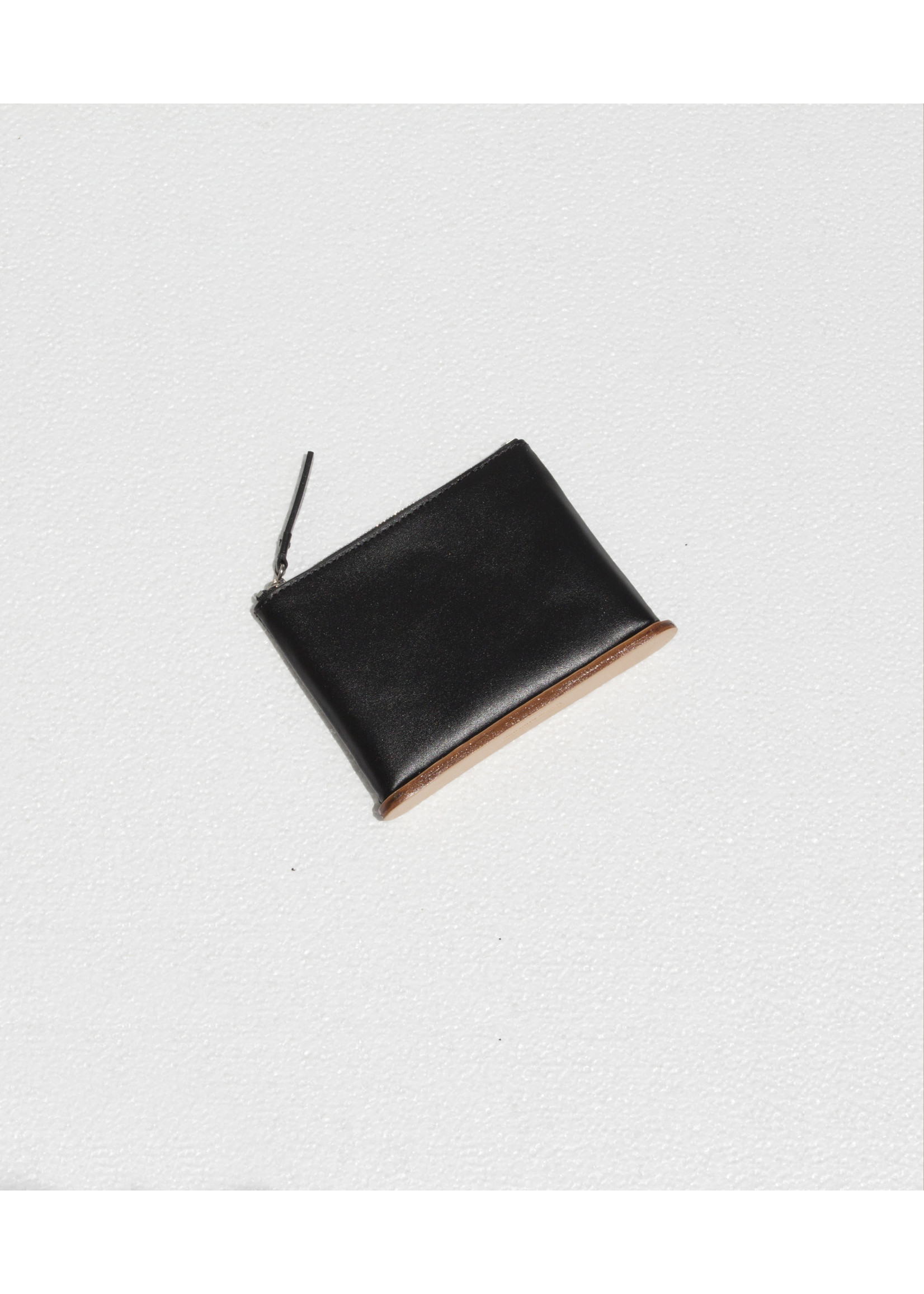 Building Block Small Standing Pouch in Black Leather