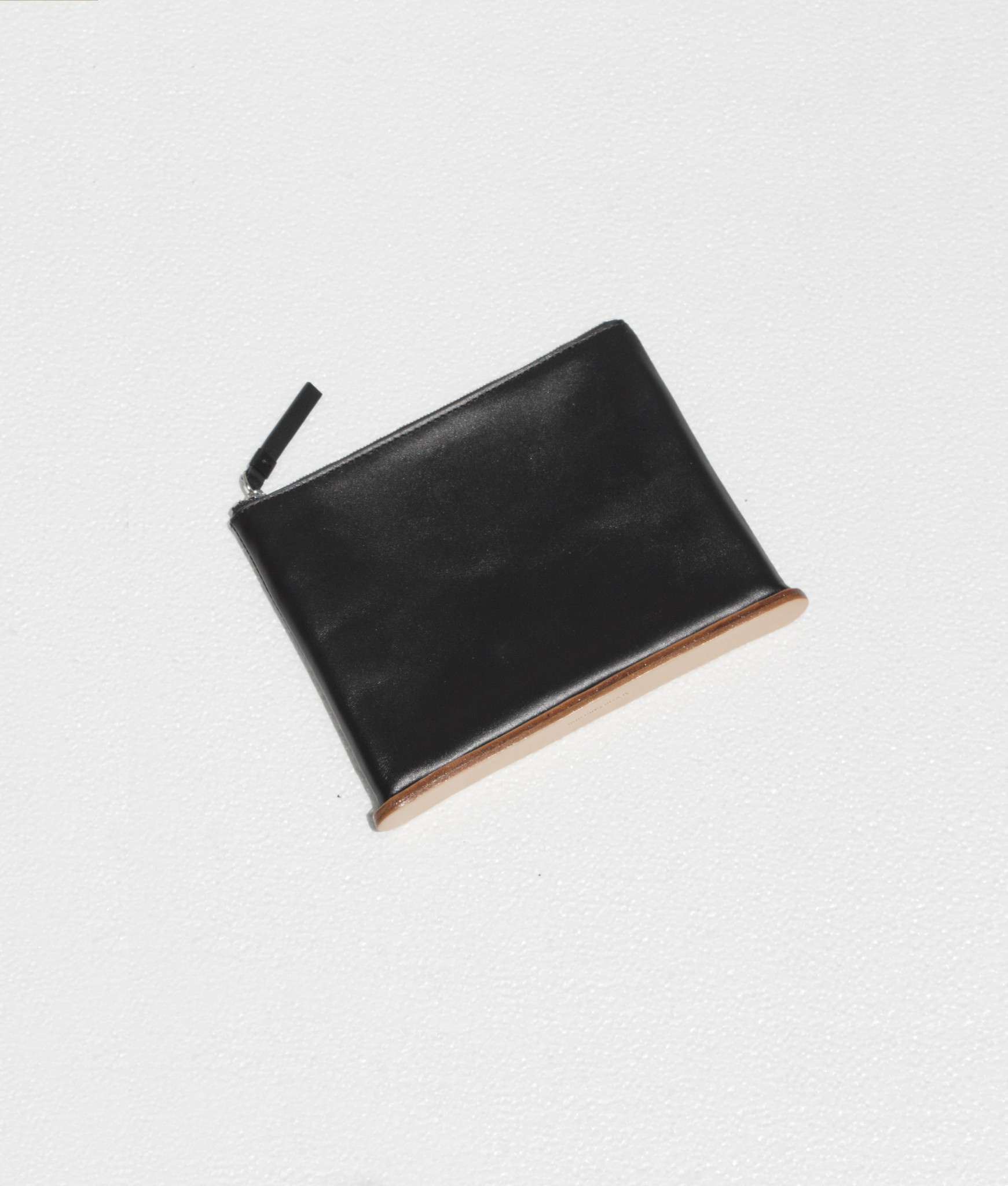 Building Block Medium Standing Pouch in Black Leather