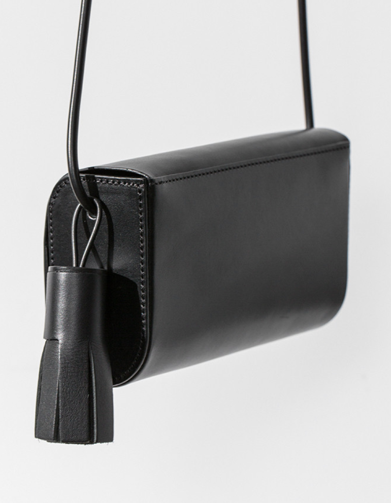 Building Block Petite Bag in Black Leather