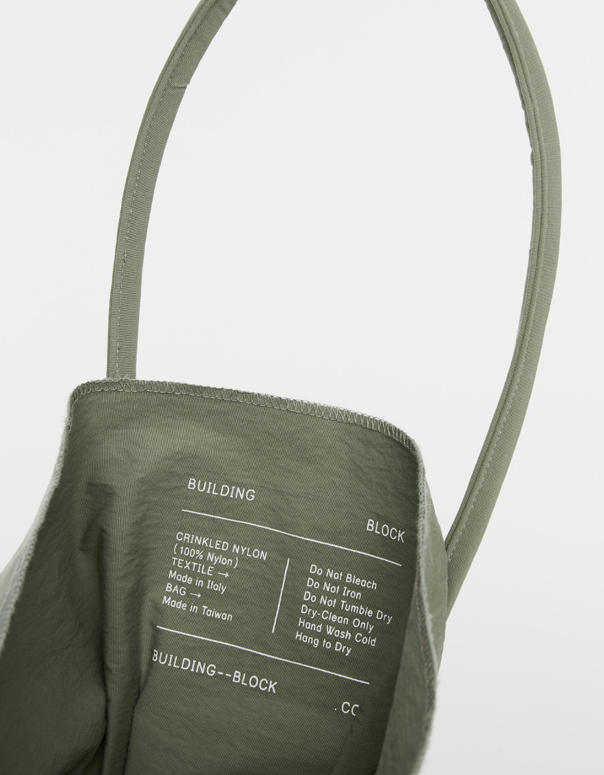 Building Block XL Tote Bag in Sage Crinkle