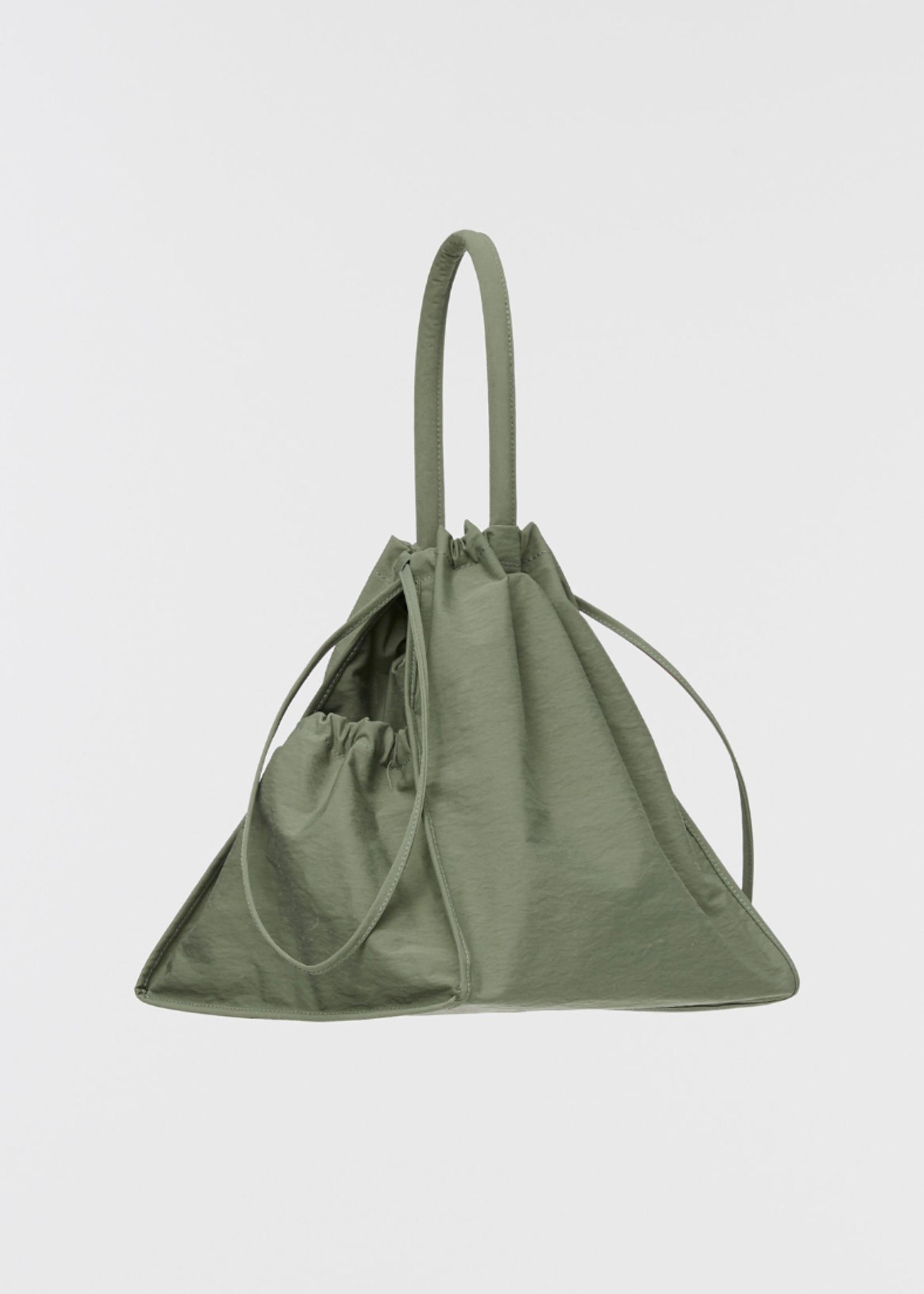 Building Block Scrunch Bag in Sage Crinkle Nylon