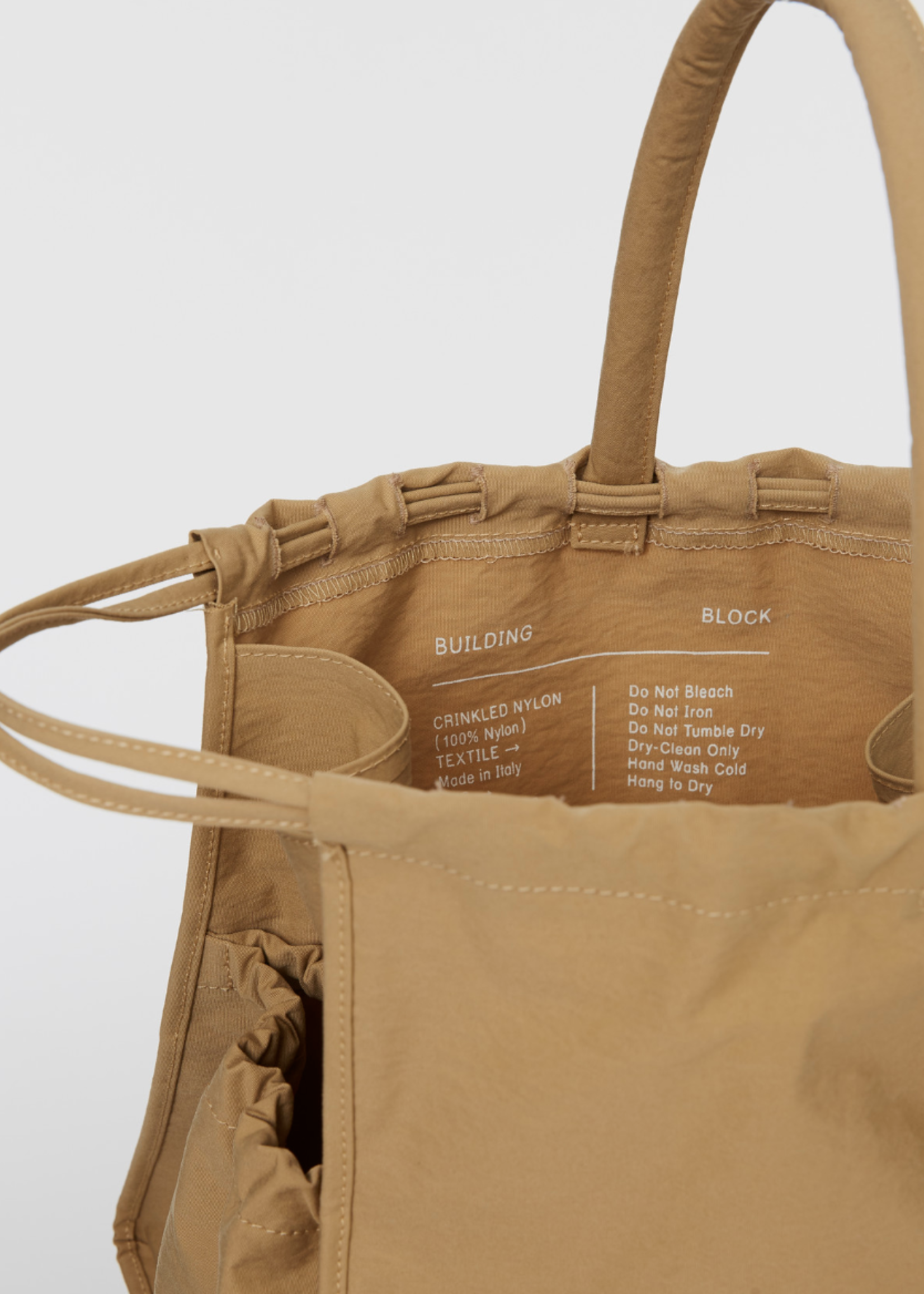 Building Block Scrunch Bag in Khaki Crinkle Nylon
