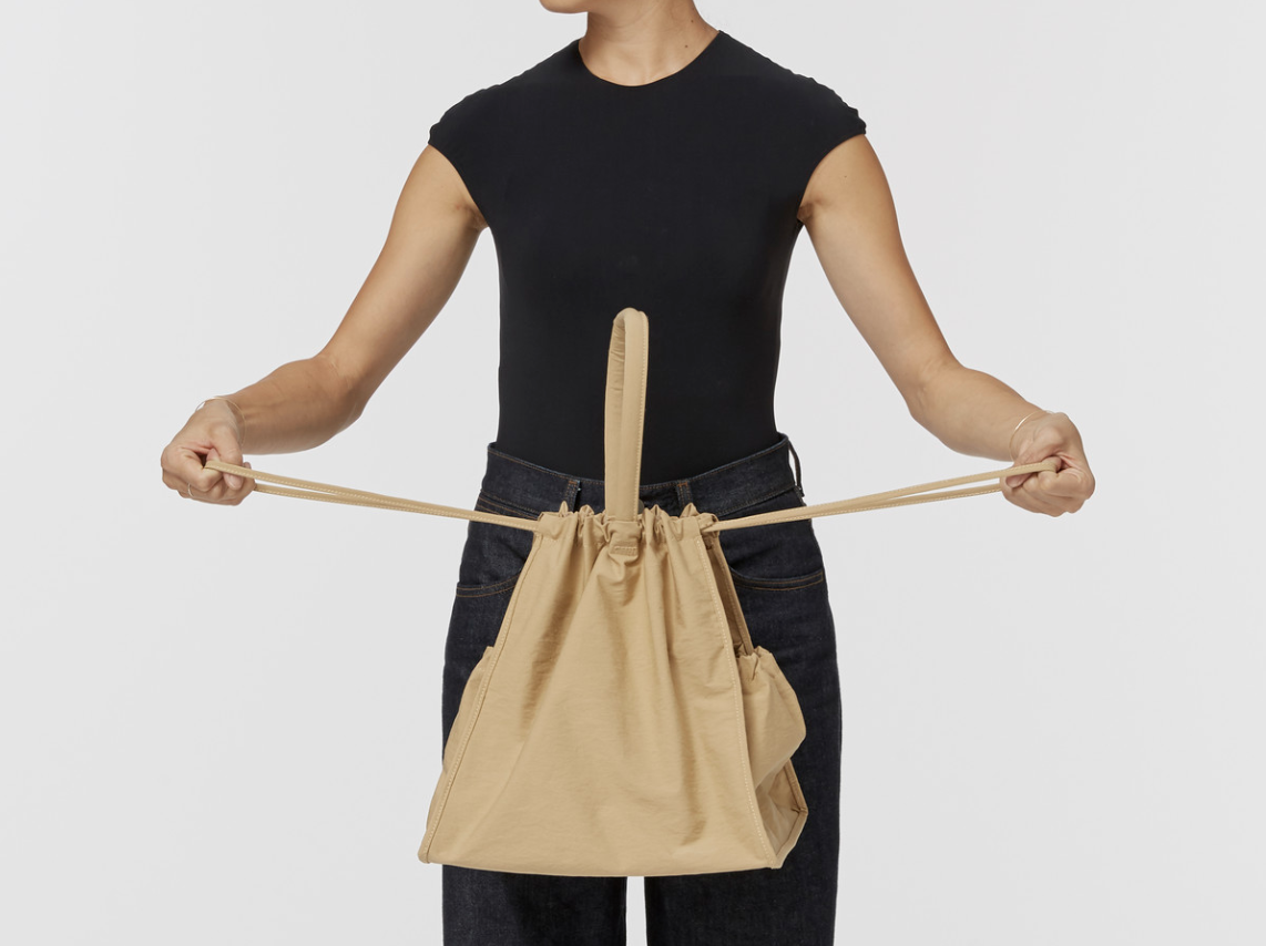 Building Block Scrunch Bag in Khaki Crinkle Nylon