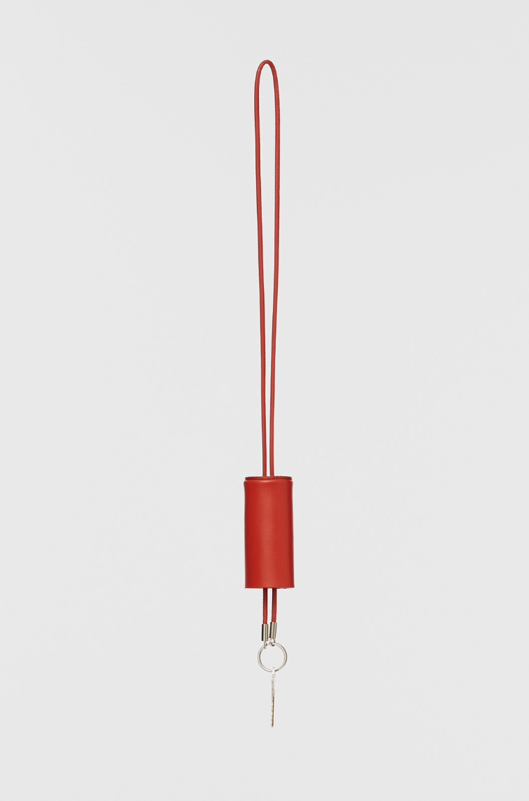 Building Block Cylinder Lanyard in Red