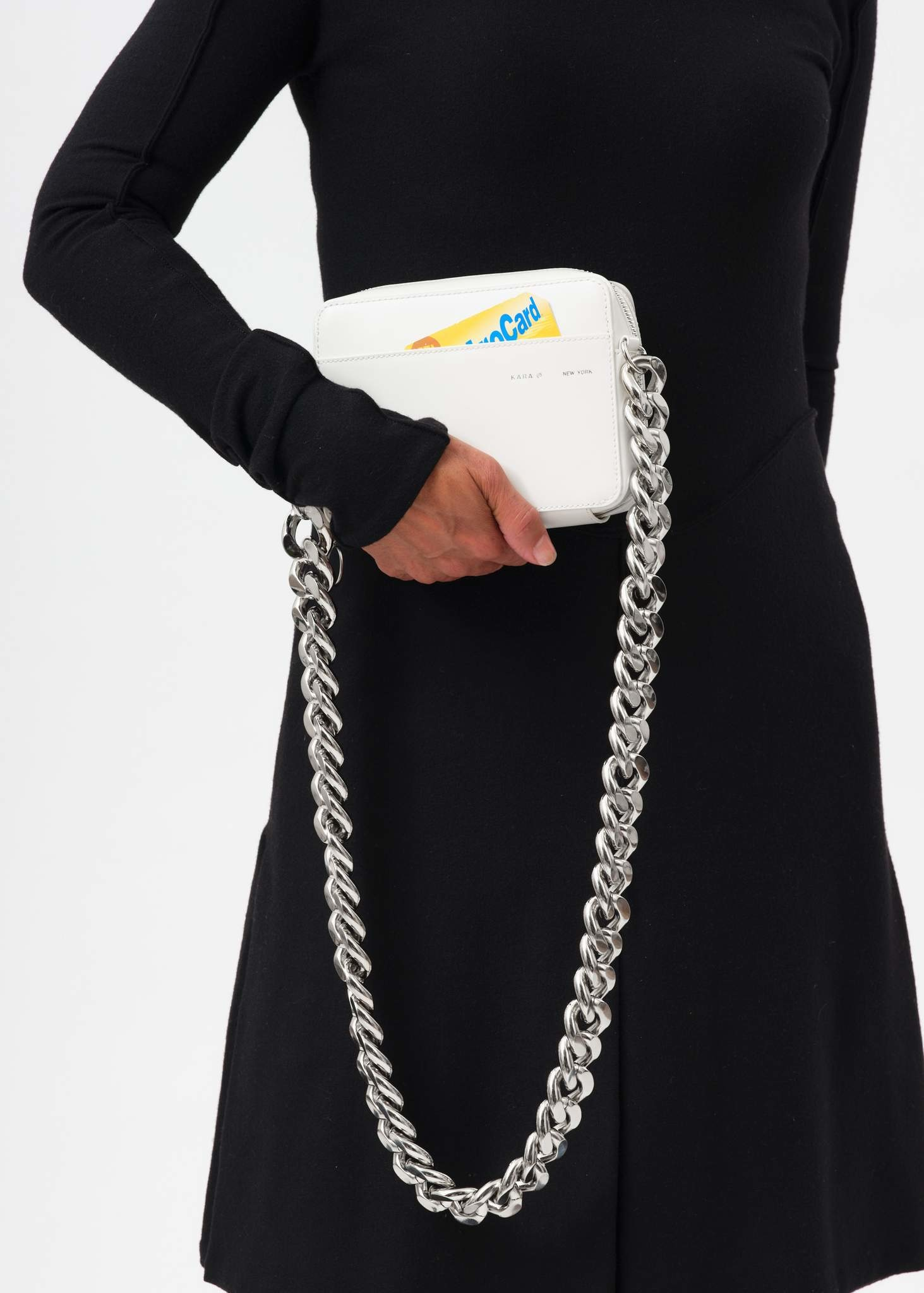 KARA Camera bag with bike chain in White