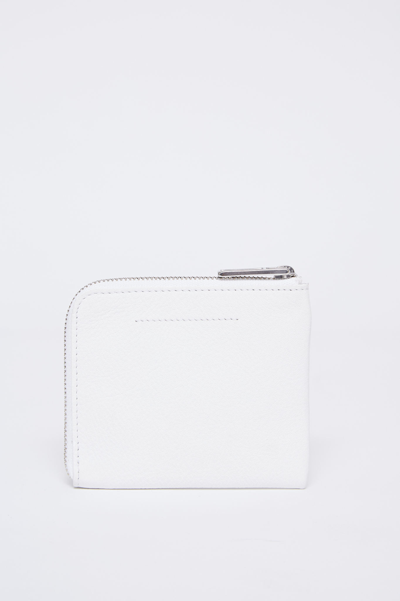 MM6 MAISON MARGIELA Vegan Leather 1/2 zip logo wallet in White
