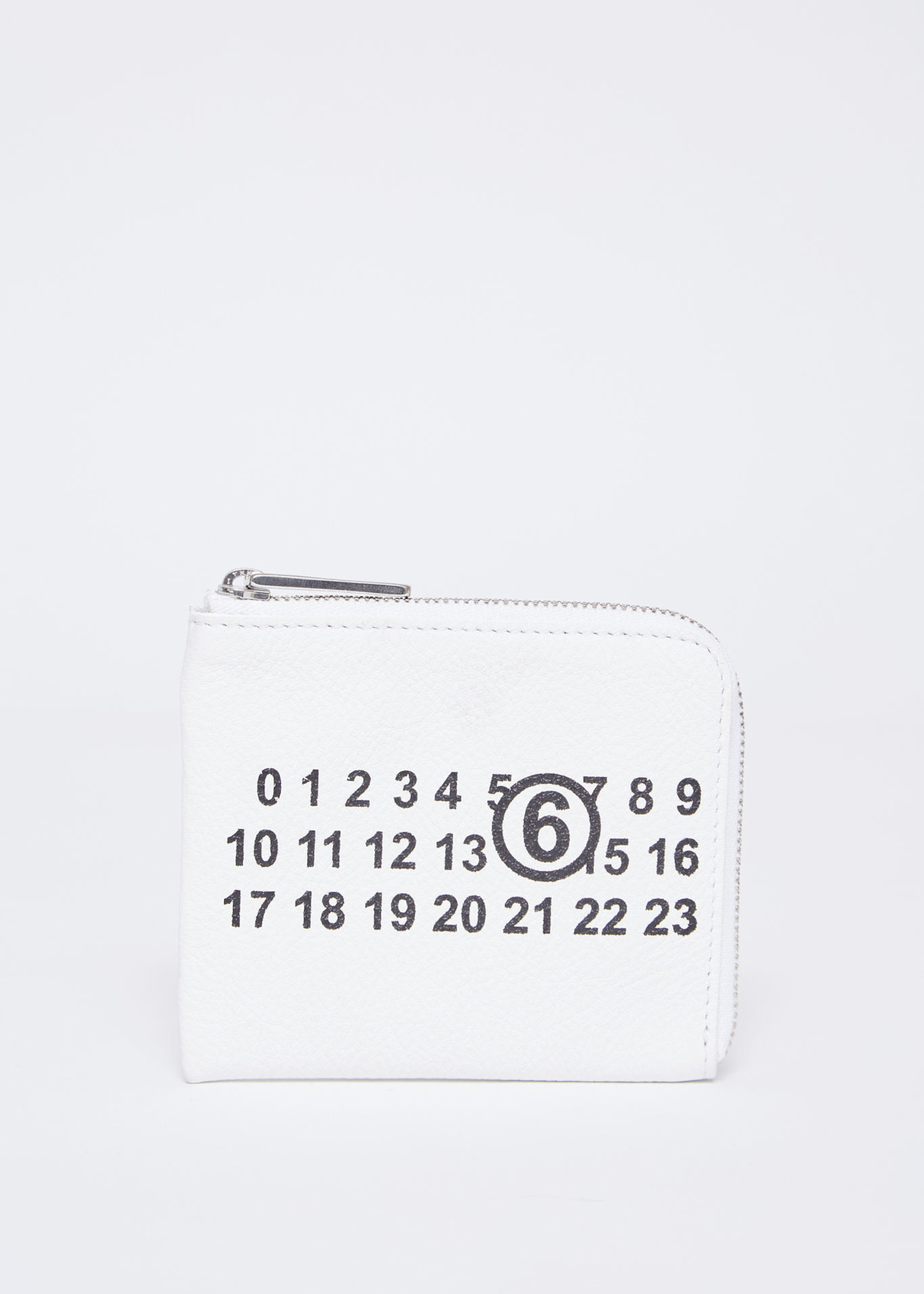 MM6 MAISON MARGIELA Vegan Leather 1/2 zip logo wallet in White