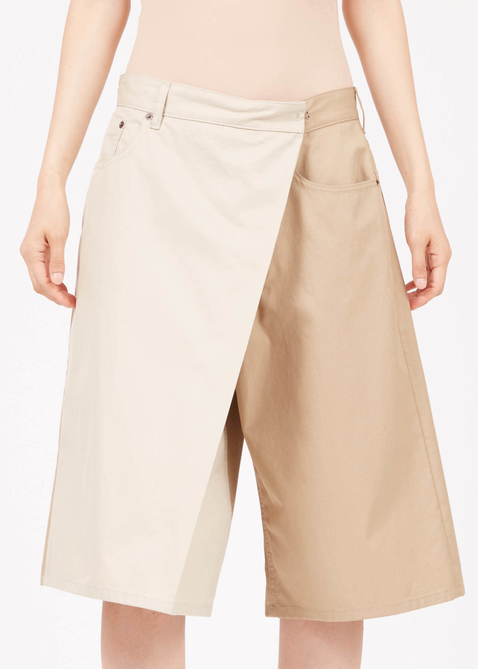 MM6 MAISON MARGIELA Fold Over two-tone shorts in beige