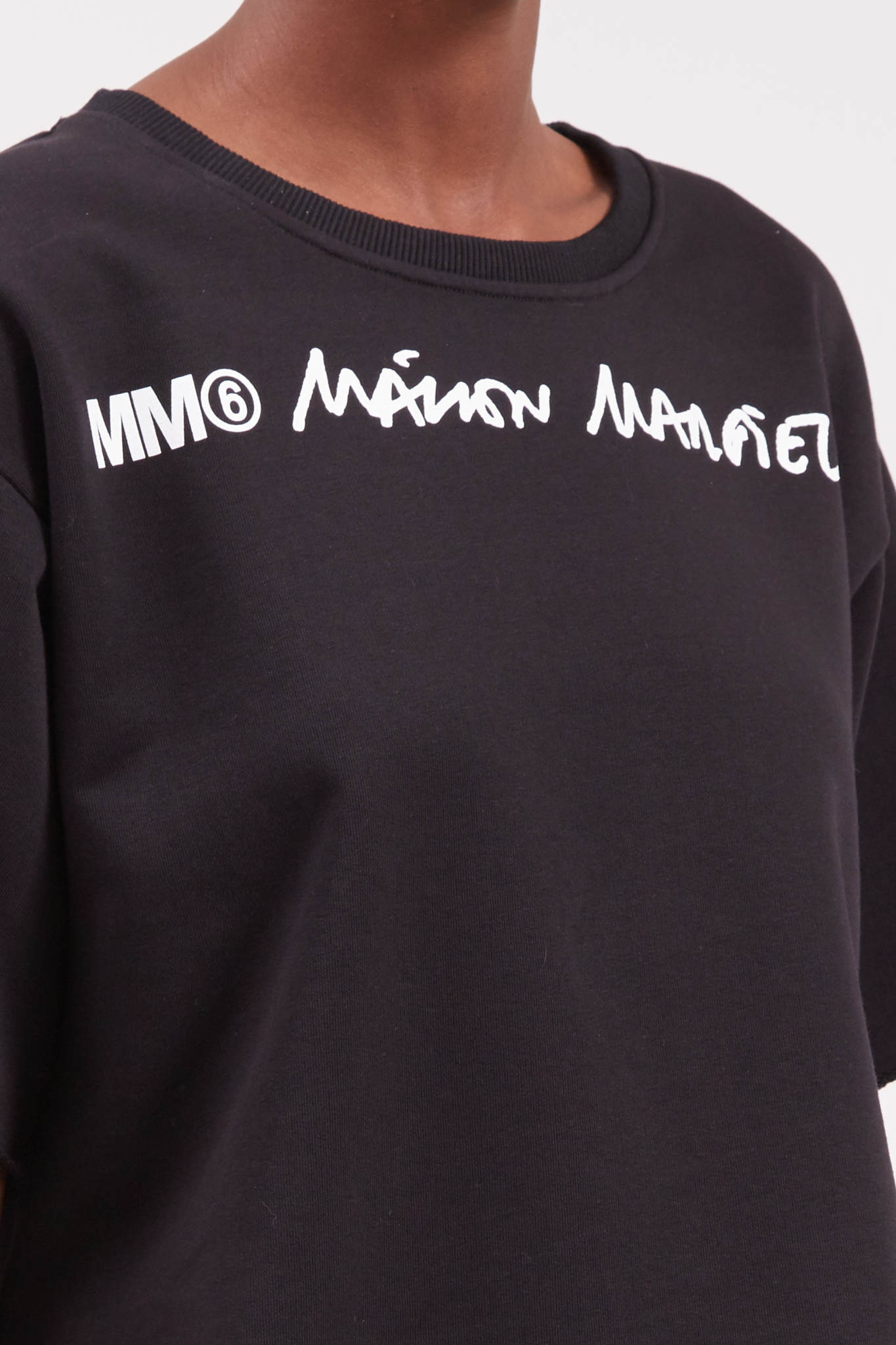 MM6 MAISON MARGIELA Cropped Logo Sweatshirt in Black