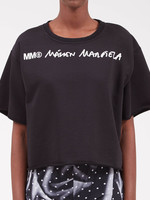 MM6 MAISON MARGIELA MM6 Maison Margiela Cropped Logo Sweatshirt in Black