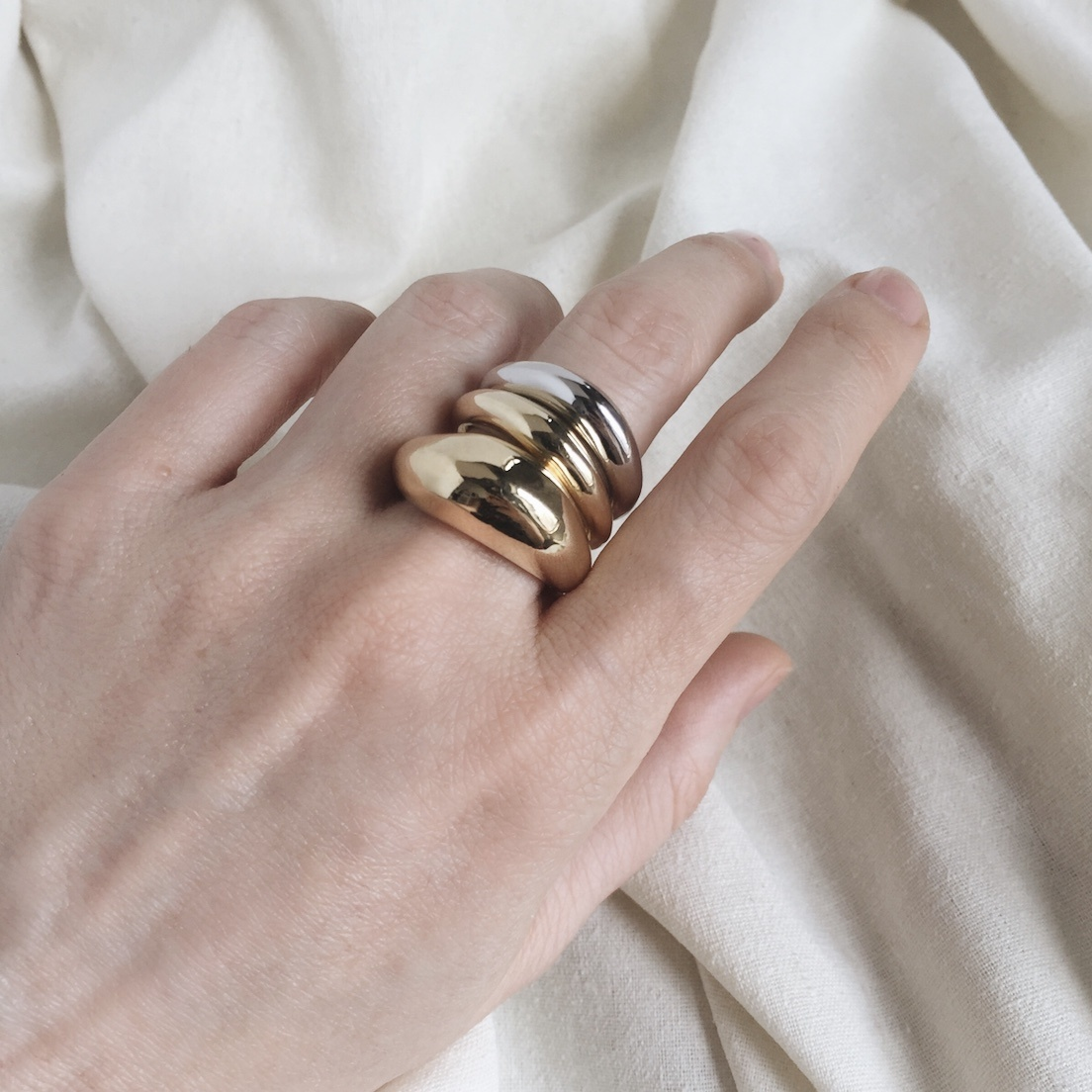 Lady Grey  Organic Ring 14K Gold Plated Bronze