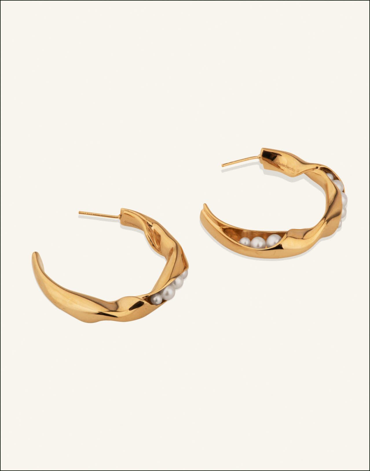 Completed Works Good Neighbours Gold Vermeil and Pearl Hoop Earrings
