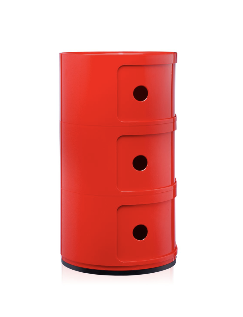 Kartell Componibili 3 Drawer Tower Red