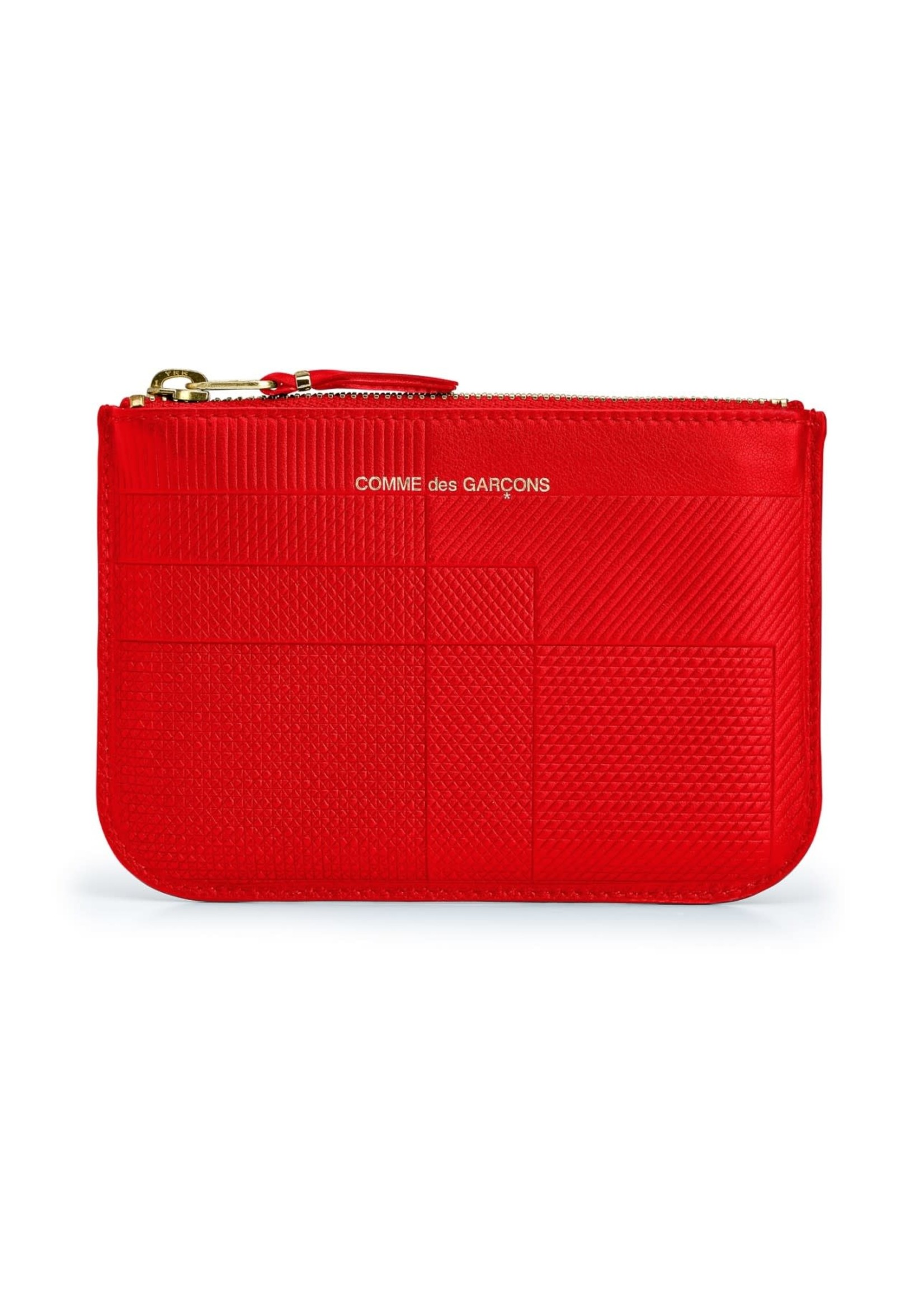 COMME des GARÇONS WALLET Intersection Lines Small Zip Pouch Red SA8100LS