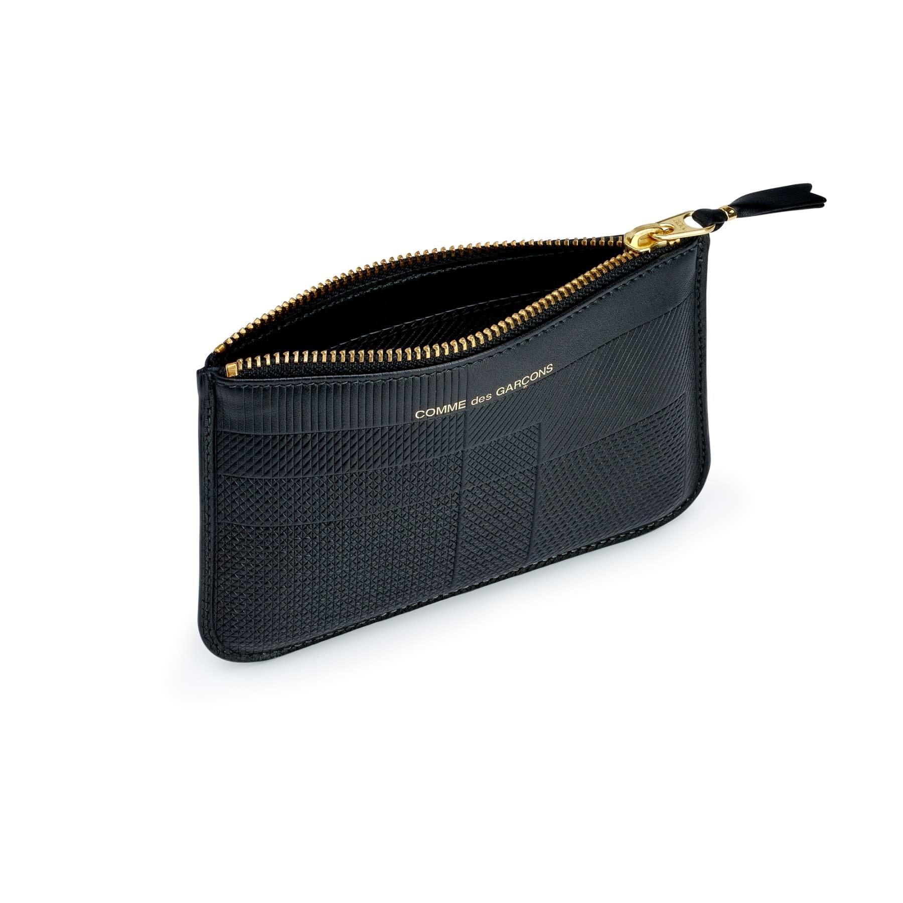 COMME des GARÇONS WALLET Intersection Lines Small Zip Pouch Black SA8100LS