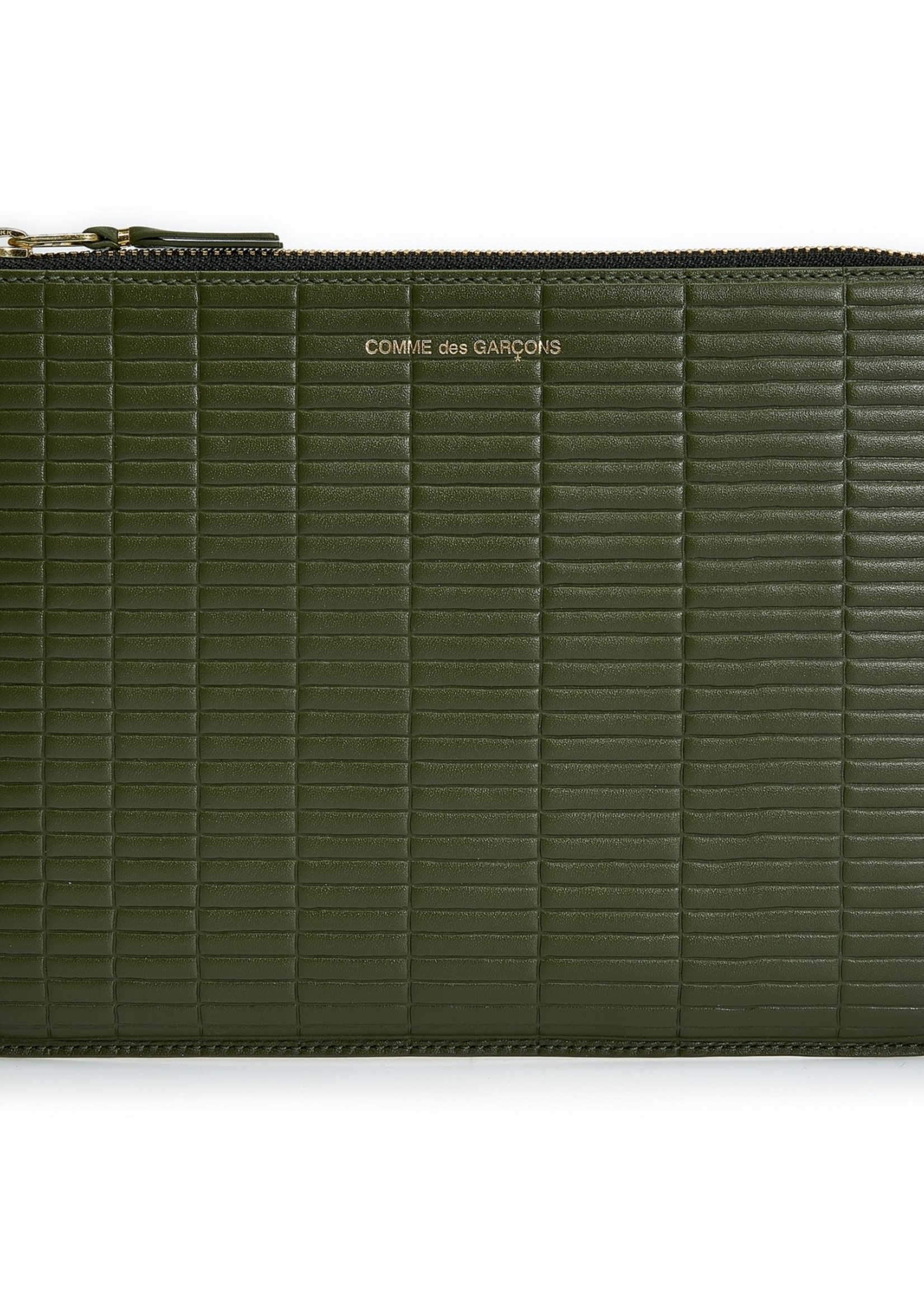 COMME des GARÇONS WALLET Large Pouch Embossed Brick Khaki  SA5100BK