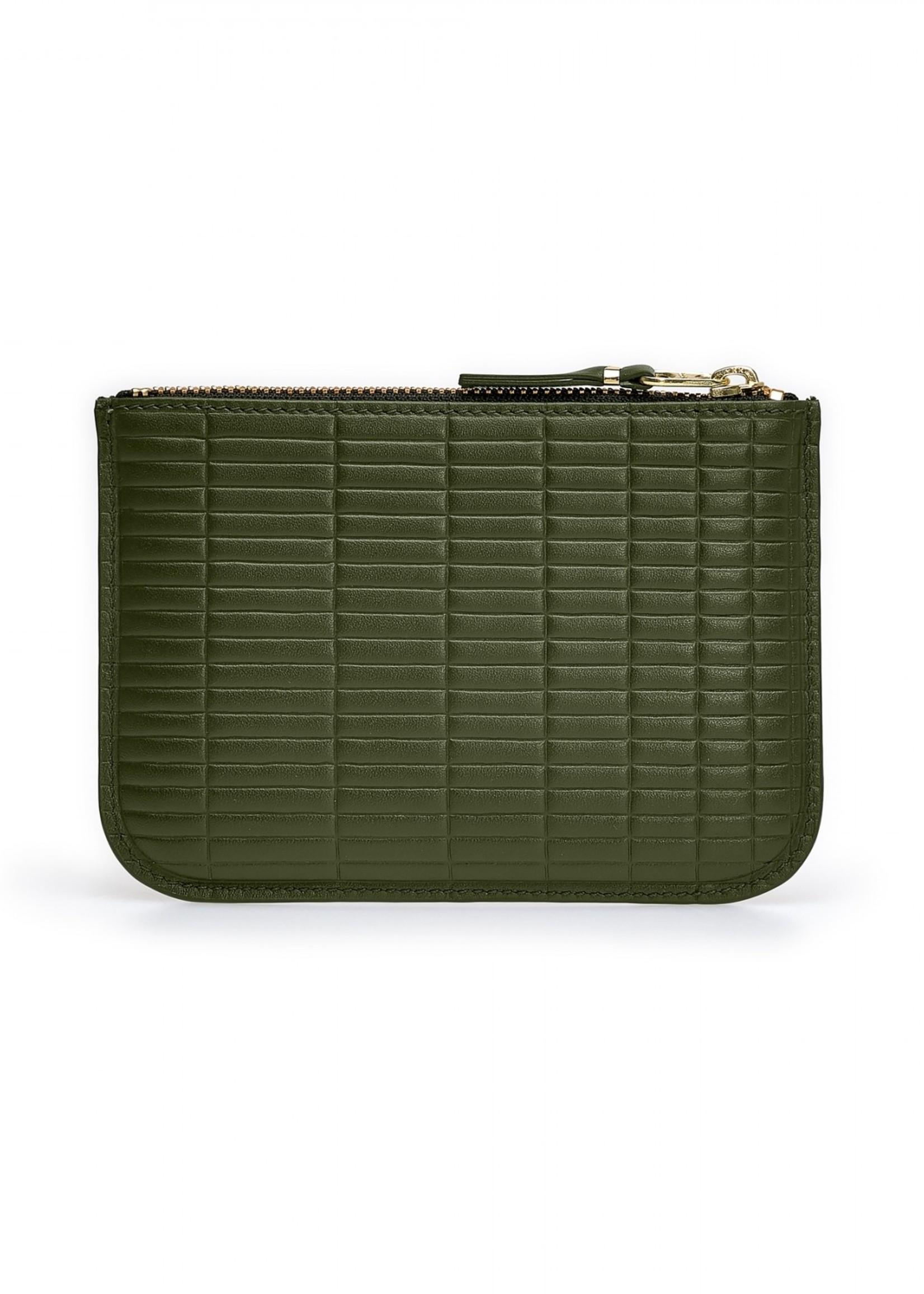 COMME des GARÇONS WALLET Small Zip Pouch Embossed Brick Khaki  SA8100BK