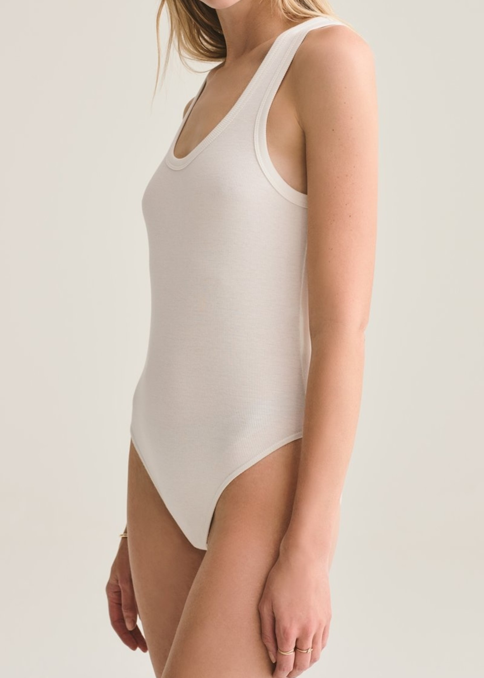 AGOLDE Tank Bodysuit in white rib
