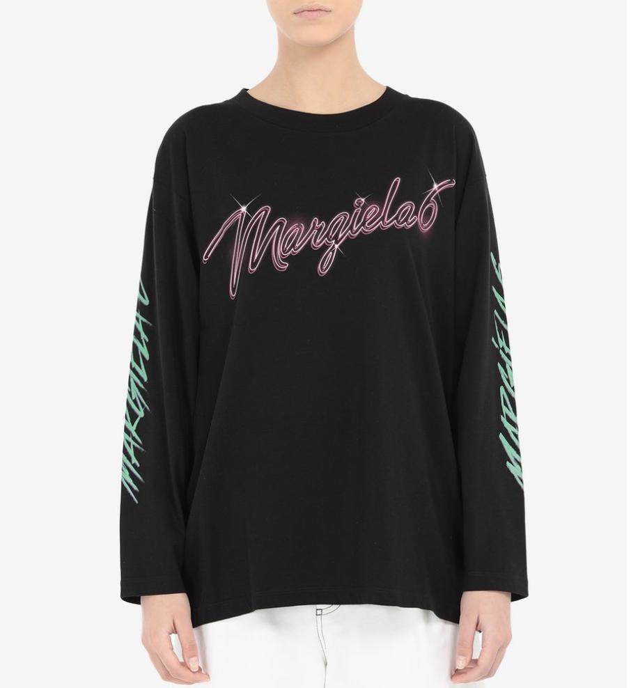 MM6 MAISON MARGIELA 6 Neon Logo Long Sleeved T-shirt