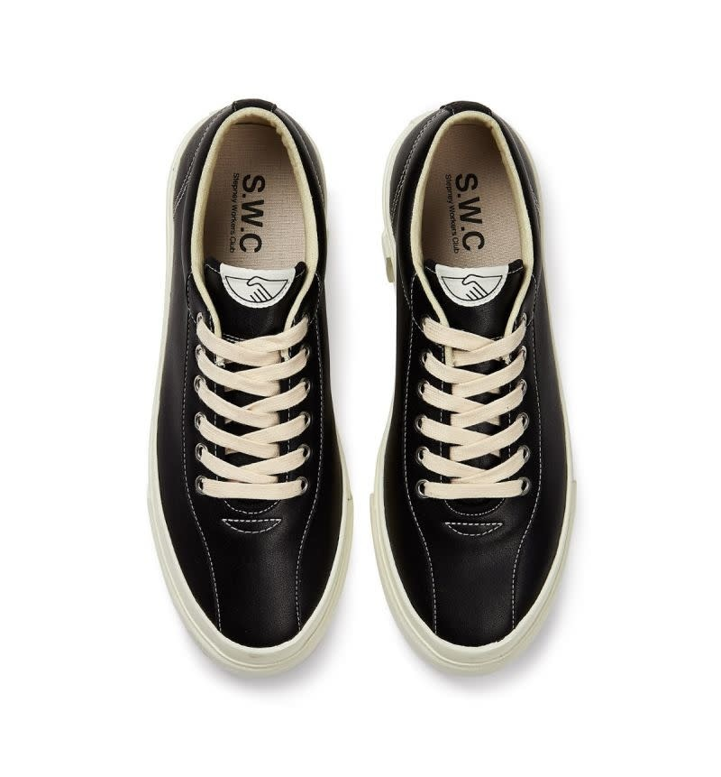 Stepney Workers Club Dellow Low Tops in Black Leather