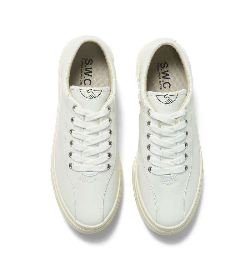 Stepney Workers Club Dellow Low Tops in White Leather