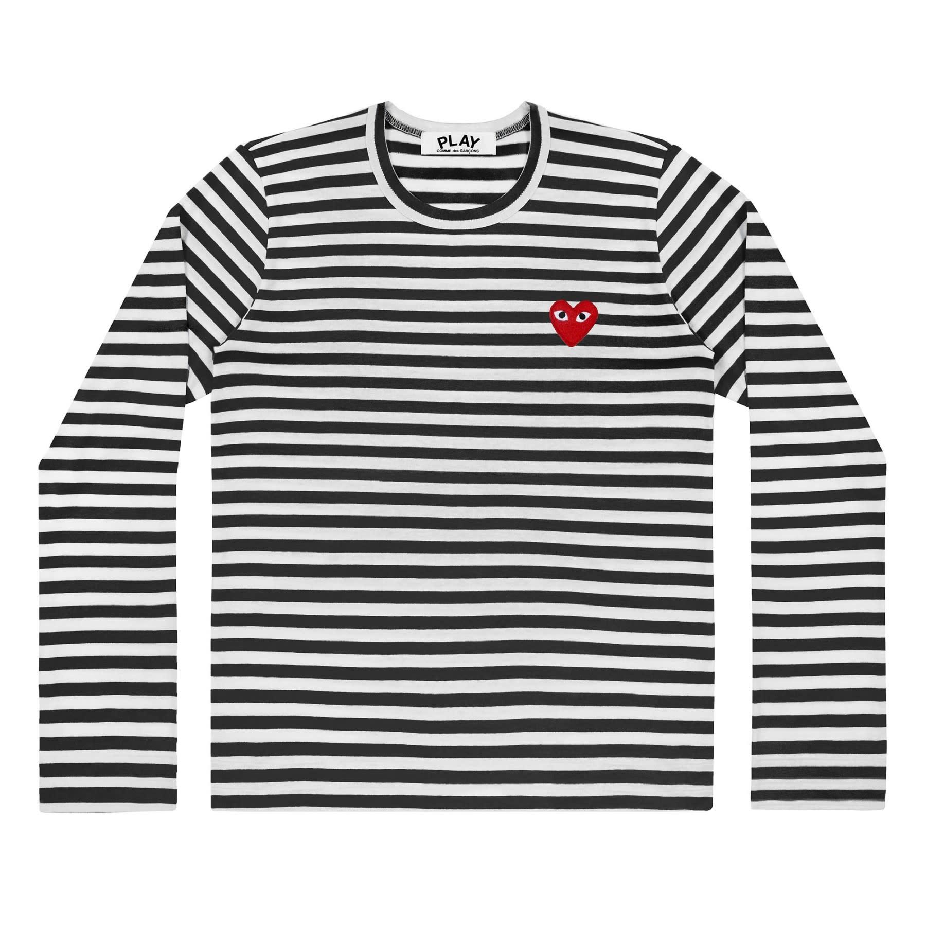 COMME des GARÇONS PLAY Women's long sleeve Stripe T-shirt Black/White