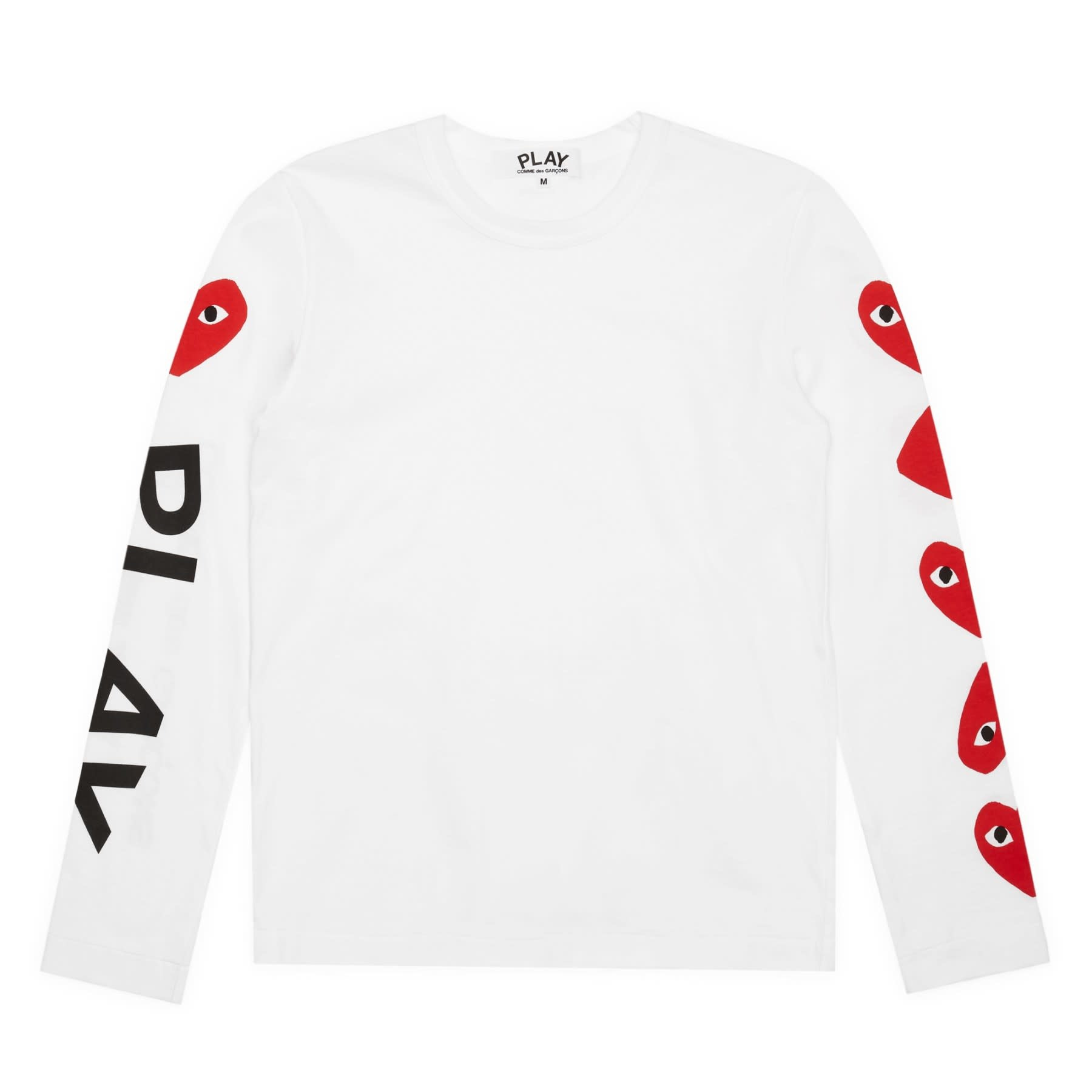 COMME des GARÇONS PLAY CDG PLAY 4 Heart Long Sleeve T-shirt in White