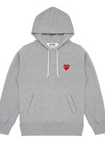 COMME des GARÇONS PLAY Comme des Garçons PLAY Red Heart Pull-over Sweatshirt in Heather Grey