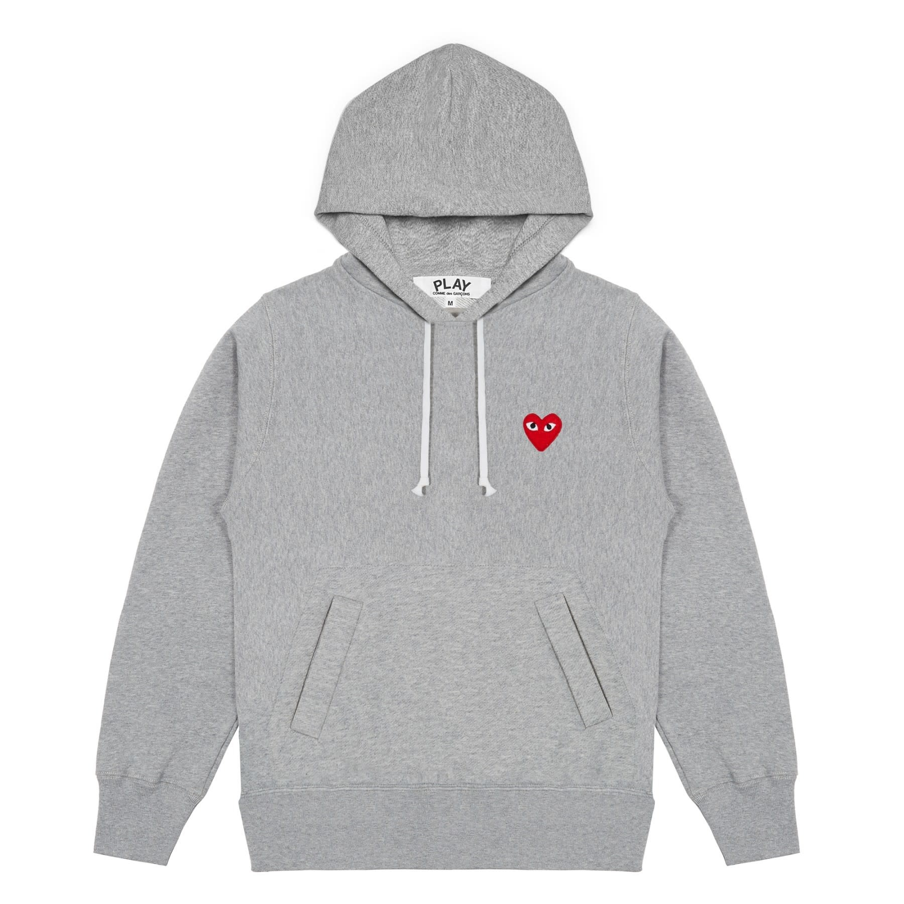 COMME des GARÇONS PLAY Red Heart Pull-over Sweatshirt in Heather Grey