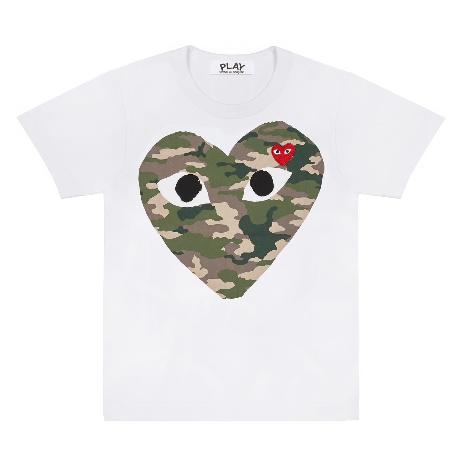 COMME des GARÇONS PLAY Camo Big Heart T-shirt in White
