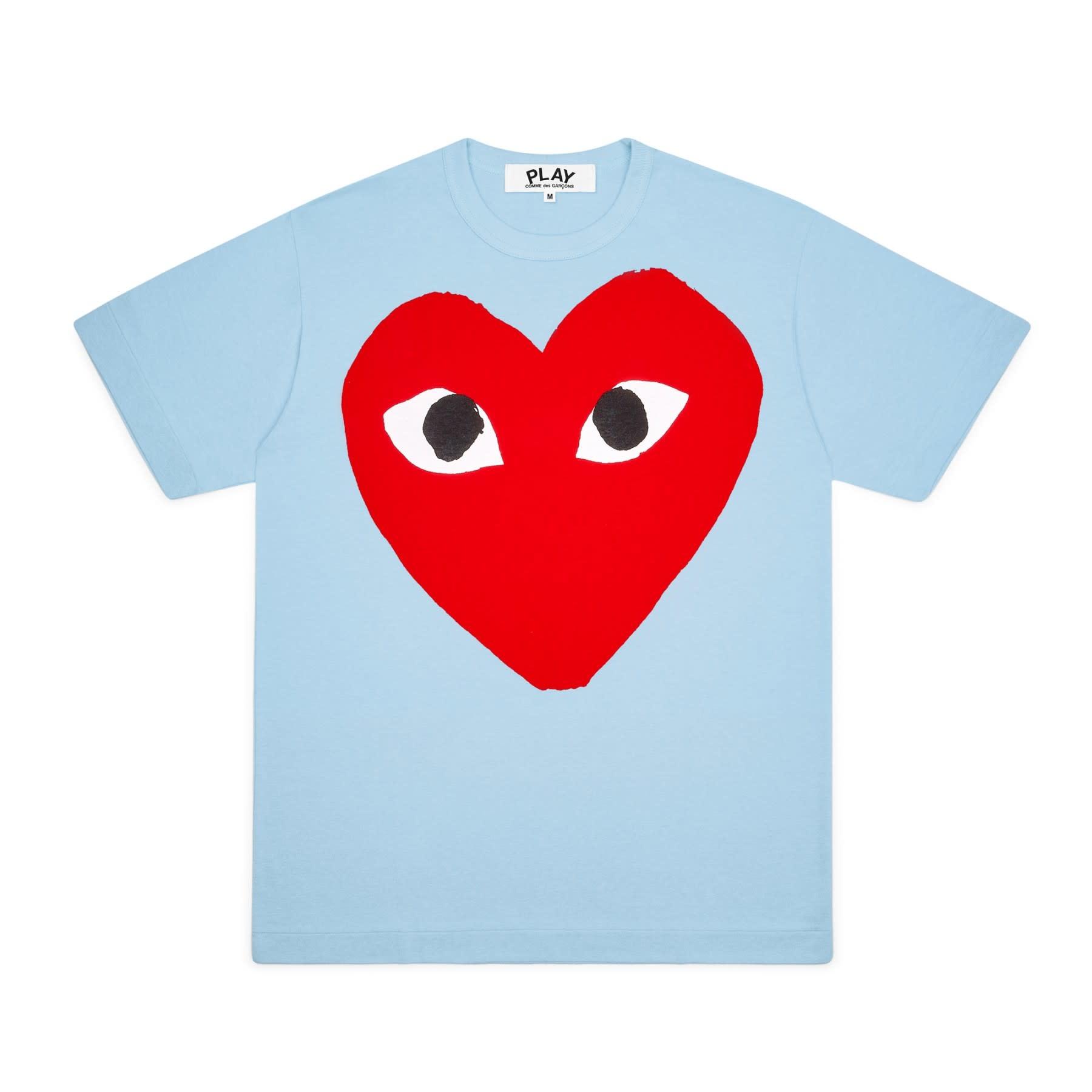 COMME des GARÇONS PLAY Big Red Heart T-shirt in Blue