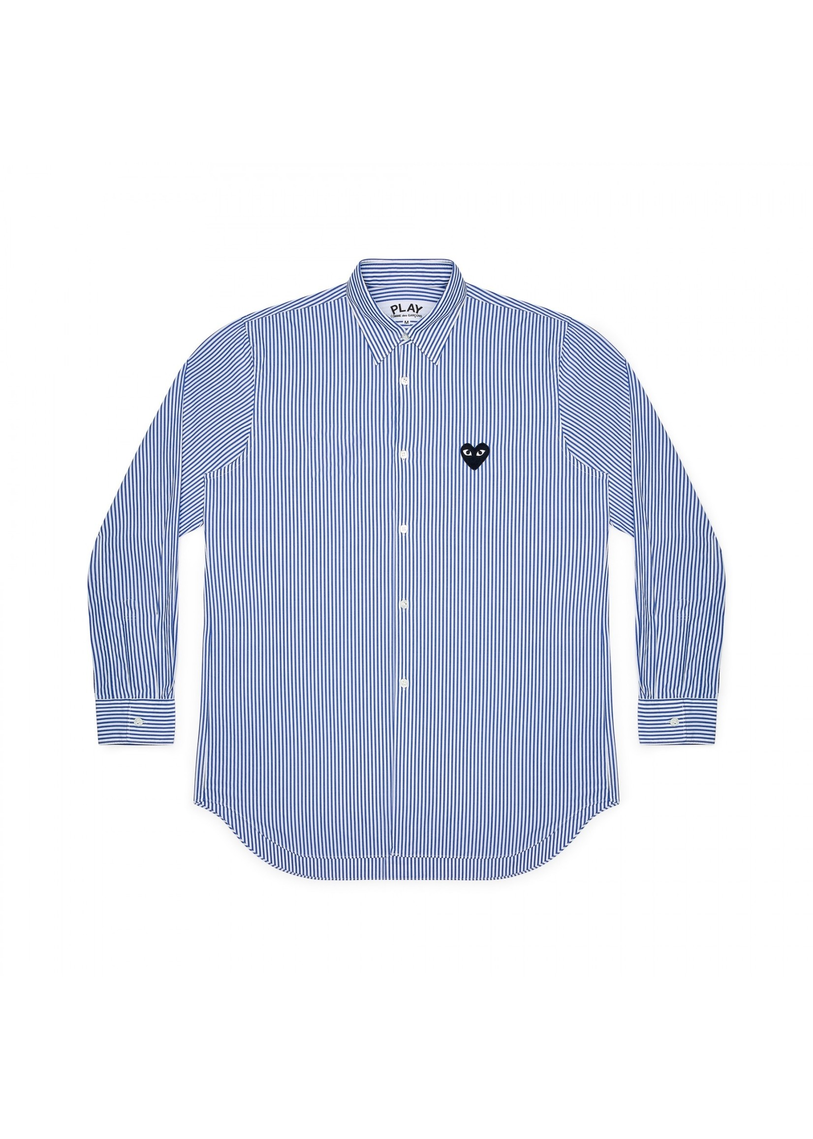 COMME des GARÇONS PLAY Blue Stripe Black Heart Button Up Shirt